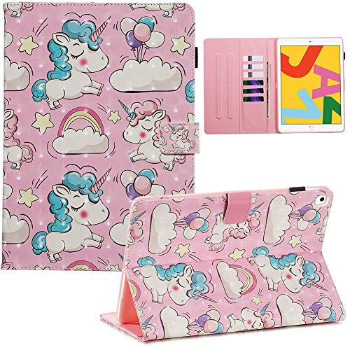 A-BEAUTY Case For New iPad 10.2' 2019 7th Generation with Screen Protector + Free Pen [Auto Sleep/Wake] Stand Cover, Unicorn
