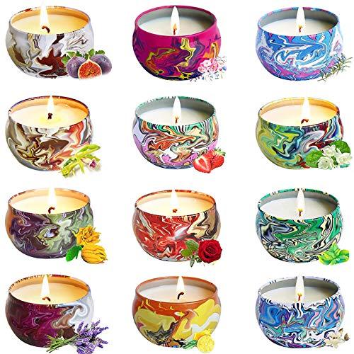 chaobai 12 Piezas Regalo de Velas Perfumadas Cera de Soja Natural Relajación y Alivio de Estrés Aromaterapia Decoración Regalo para cumpleaños, Bodas y Navidad