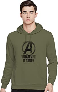 ADRO Men's Cotton Hooded Sweatshirt (H-M-WHA-OL-S_Olive Green_Small)