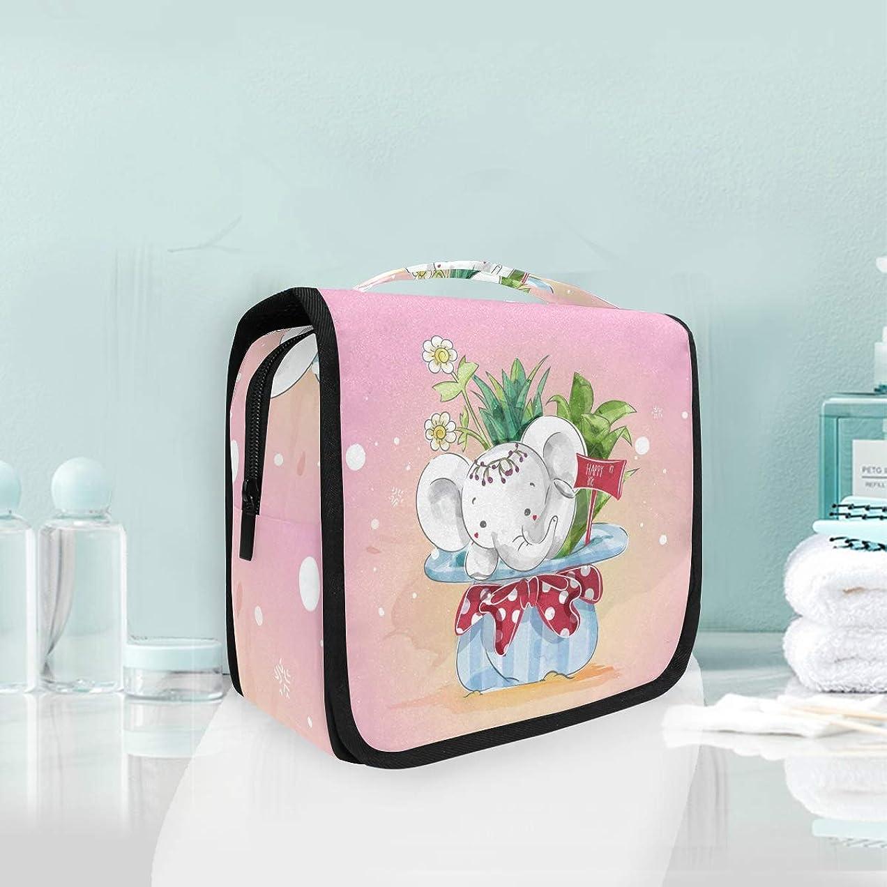ぺディカブマトン解釈するピンクのクリスマス象ハンギング折りたたみトイレタリー化粧品袋メイク旅行オーガナイザーバッグケース用女性女の子浴室