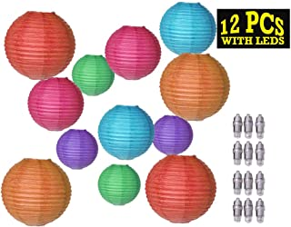 12pc Multi-Colored Paper Lanterns with LED (Various Sizes 8