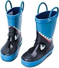 hiitave Kids Toddler Waterproof Rubber Rain Boot for Boys Girls with Easy Pull On Handles
