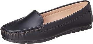 حذاء لوفرز جلد صناعي سادة بخياطة امامية للنساء من كلوب الدو