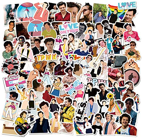 100 Pcs Harry Edward Styles Stickers, Waterproof Vinyl Sticker Packs for Hydro Flask Skateboard Guitar Travel Case Laptop Notebook, Durable Trendy Music Singer Star Decal Stickers for Kids and Teens