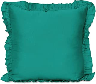 Vargottam Shabby Chic Farmhouse Decor Ruffled Pillow Sham Euro 26x26 Cotton Frill Pillow Cases Housewarming Gift