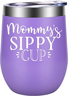 Gifts for Mom - Mothers Day Gifts for Mom, Wife - First Mothers Day, Mom Gifts - Funny Birthday, Mother's Day Gifts for Mom from Daughter, Son - New Mom Gifts - LEADO Mommy's Sippy Cup Wine Tumbler
