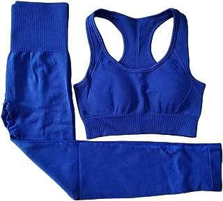 XFKLJ Sports Bra Yoga Pants New Yoga Clothing 2 Pcs Set Women Gym Fitness Seamless Leggings Running Sport Bra Suits Tops H...