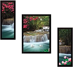 SAF Waterfall Set of 3 Nature 9186 Painting (35 x 3 x 50 cms)