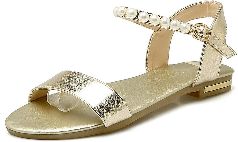 Women Sandals Pu Leather Summer Out Door Low Heel Round Toe Buckle Casual Women Sandals 34-43