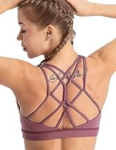 coastal rose Women's Yoga Bra Top Strappy Back Push Up Crop Sports Bra Activewear