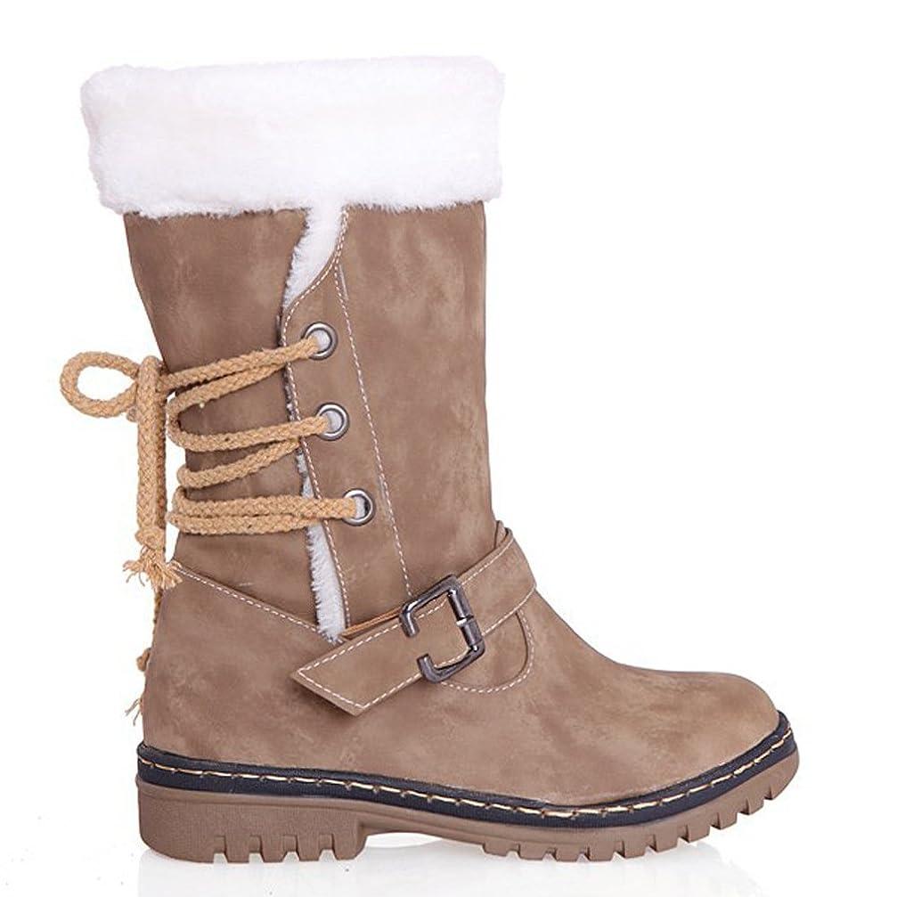 これまでくそー見物人[HONGANG] 女性ミッドカーフレースアップゴム靴のブーツアウトドア用の毛皮の並んだ冬のブーツ