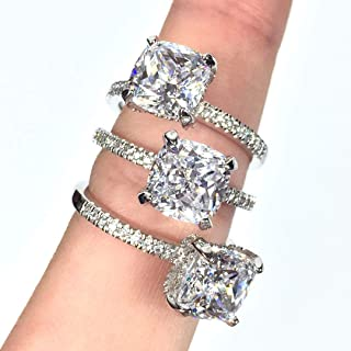 Glitz AAA Cubic Zirconia Engagement Ring for Women - Big Stone and Small cz Sparkle Like