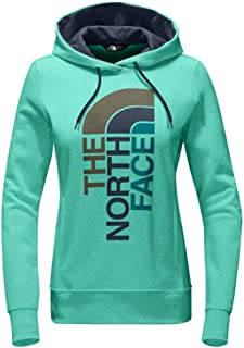 The North Face Women's Trivert Logo Pullover Hoodie Sweatshirt Bermuda Green Heather/Ink Blue Multi, X-Large