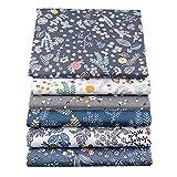 BYY - Lote de 6 piezas de tela de algodón para manualidades, 40 x 50 cm, color azul oscuro