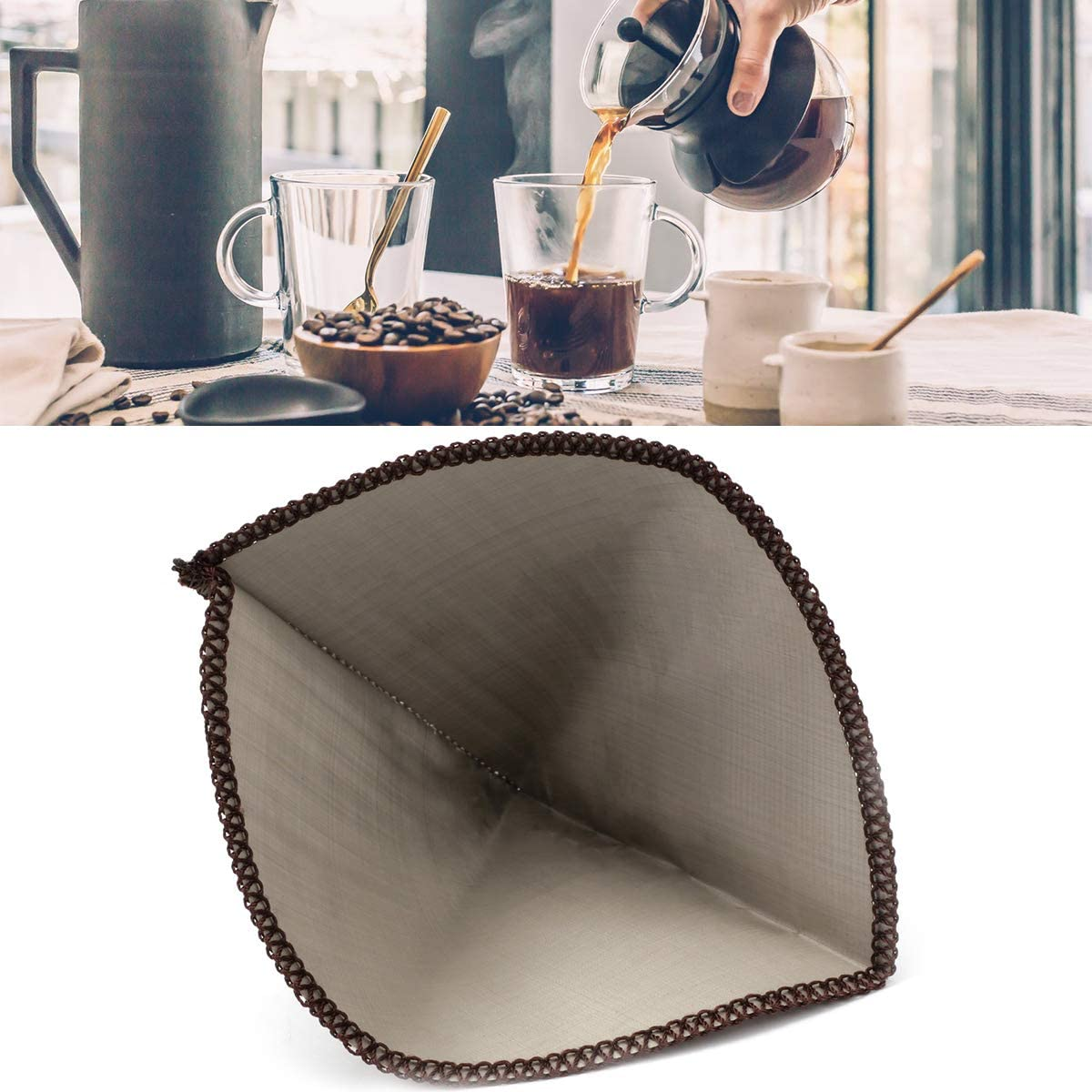 Reusable Pour Seasonal Wrap Introduction Over Coffee In a popularity Filter Stainless Paperless Drip Steel