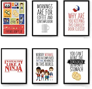 Silly Goose Gifts Stranger Kids Themed Room Wall Print Art Decor (Set of Six) TV Show Strange Things