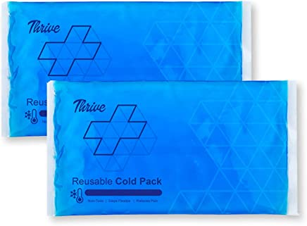 Reusable Crystal Blue Gel Ice Cold Pack Compress - (2 Pack) - Reusable Vinyl