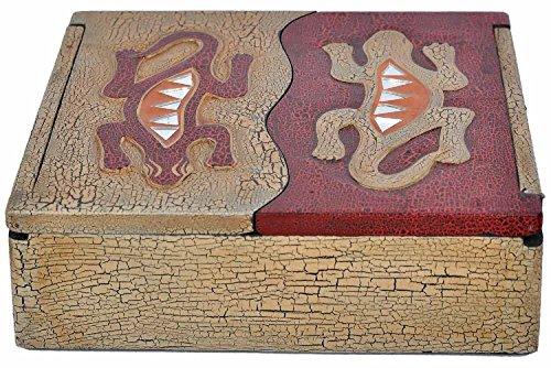 Woru Schatulle aus leichten Albesia-Holz, handbemalt, Gecko oder Sonne & Mond (Gecko)