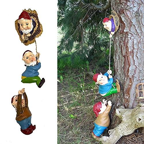 Gartenzwerge Wetterfest Gartendeko Figuren für Außen groß Gartenzwerg Gartenstatuen Resin Harz Kletterzwerg Skulptur Zwerg Kunst Statue Yard Ornament Home Decor (A)