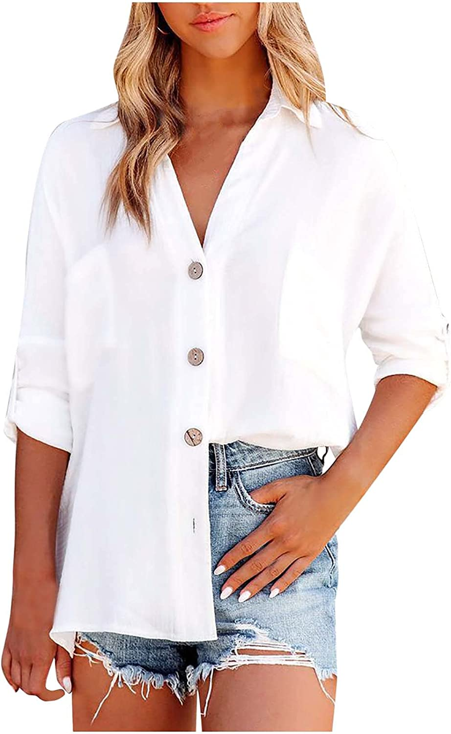 TIMIFIS Fashion Shirts for Women Long Sleeve Tunic Tops Loose Fit Buttons Blouse Solid Color T-Shirt with Pocket