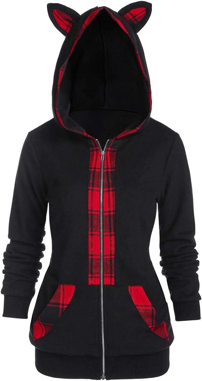 YSLMNOR Cat Ear Sweatshirt Finally popular brand Super sale period limited Women Men Tops Tunic Unisex Cosplay F