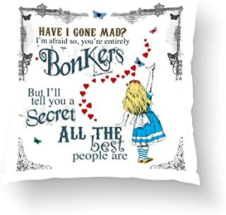 Zippered Pillow Covers Pillowcases One Side 18x18 Inch Alice in Wonderland Cushion with mad Hatter Quote Pillow Cases Cushion Cover for Home Sofa Bedding