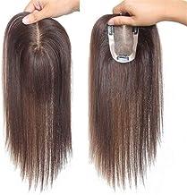 DX 10-delig echt PU en 12 cm PU hoofdstuk voor wit en fijn haar, beugels in dameskronen, 15 cm, donkerbruin