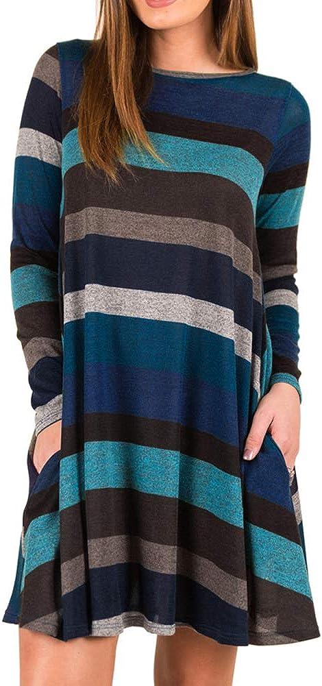 GZXISI Women's Long Sleeve Pocket Casual Loose T-Shirt Dress Versatile Tunic top Swing Dress