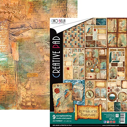 Ciao Bella Doppelseitiges Papier, 40,8 kg, A4, 9/Pkg-Repubbliche Marinare, 9 Designs/1
