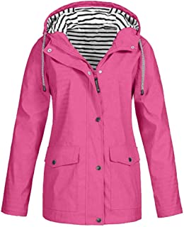Bluelucon Womens Lightweight Waterproof Raincoat Hooded Outdoor Activewear Ladies Fashion Casual Sport Outdoor Hoodie Coats Plus Size S-5XL