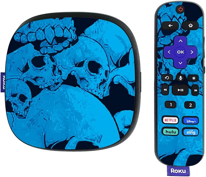 MightySkins Skin Compatible with Roku Ultra HDR 4K Streaming Media Player (2020) - Blue Skulls   Protective, Durable, and Unique Vinyl Decal wrap Cover   Easy to Apply   Made in The USA