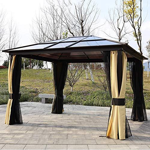 WSN Jardin Aluminium Gazebo, Hardtop witth LED Lumière Solaire Auvent Chapiteau Partie Abri Tente avec Mesh Rideaux latéraux 3,6 x 3 (m)