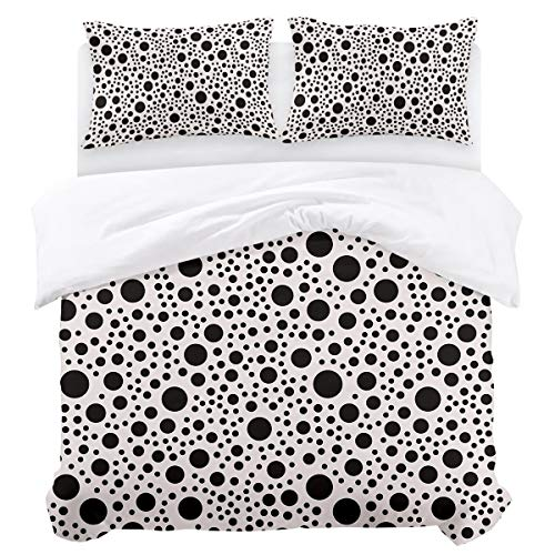 Olivefox Modern Reversible Bedding Duvet Cover Set with 3pcs:1 x Duvet Cover 2 x Pillowcases Black and White Polka Dots California King Easy Care Comforter Cover Durable Bedding Set