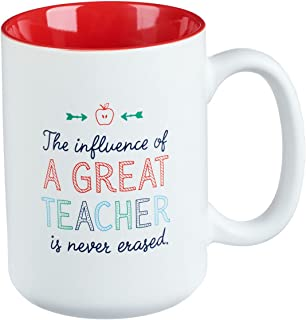 """Great Teacher Coffee Mug – White & Red Ceramic Christian Coffee Cup """"The influence of A Great Teacher is never erased."""" Number 1 Teacher Appreciation Gift for Women & Men Large 16 oz"""
