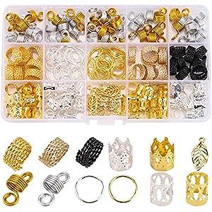 200 PCS Loc Hair Jewelry for Women Braids, Dreadlock Accessories Metal Gold Hair Cuffs Decorations