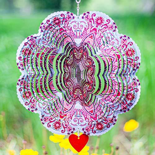 SteadyDoggie Windspiel Mandala Spirit 30,5 cm - 3D Edelstahl - Laser Cut Metall Kunst Geometrisches Muster - Hängendes Windspiel Kinetic Yard Art Dekorationen - Indoor/Outdoor Decor