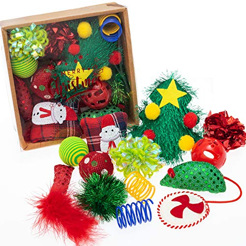 FLYSTAR Christmas Cat Toys - Interactive Cat Toy & Cat Bell Toy & Cat Ball Toy & Cat Feather Toy & Cat Kicker Toy & Cat Spring Toys & Cat Toy Mouse - 13 Pack Cat Gift Box for Small, Meidum, Large Cats