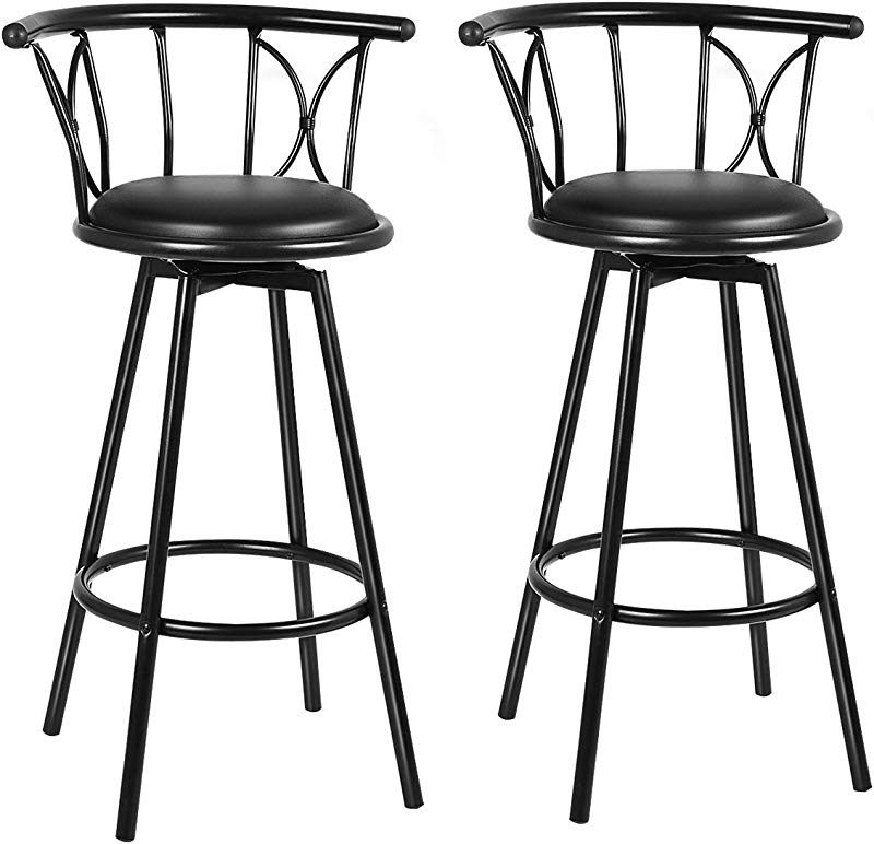 COSTWAY Bar Stools Modern And Classic Rotatable Counter Pub PVC Leather Chairs Round Padded Seat With Footrest Back Bar Pub Dining Room Kitchen Home Furniture Black Set Of 2