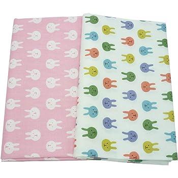 2 piezas 50 cm * 160 cm conejos tela de algodón impreso para patchwork,telas para hacer patchwork, telas tilda, retales de telas, tela algodon por metros: Amazon.es: Hogar