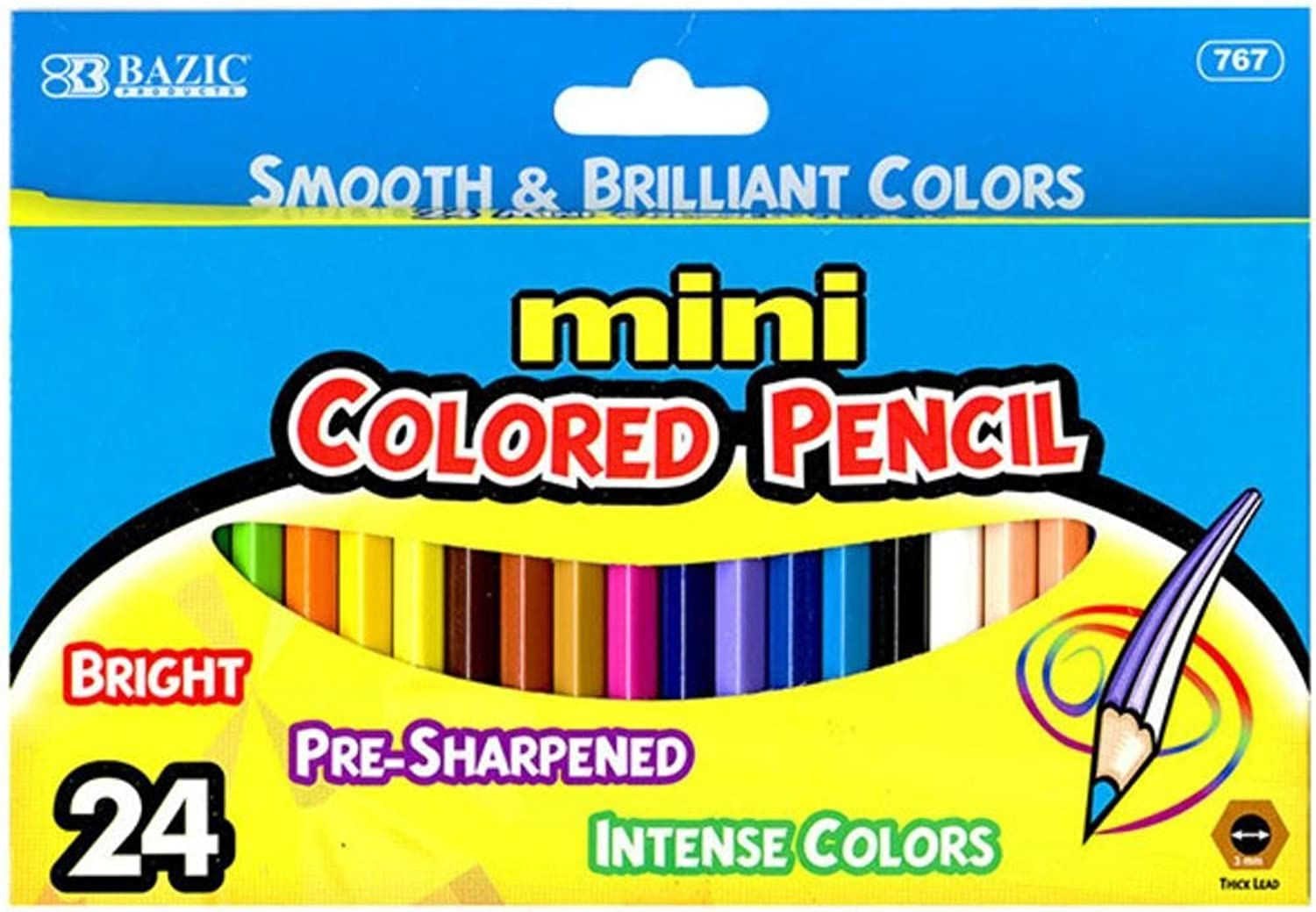 Bazic 76724 24 Mini color Pencil Pack of 24