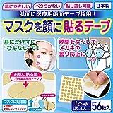 マスクを顔に貼るテープ 日本製 肌側に医療用両面テープ採用 貼りなおしOK【1シート56枚入】
