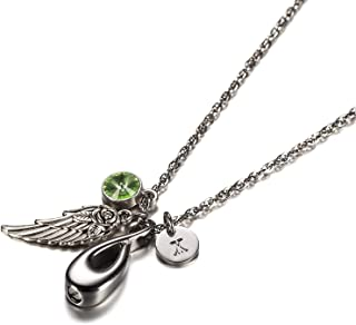 Urns Necklace Pet Ashes Necklace Stainless Steel Pendant Infinity, Angel Wing, 26 Letters & 12 Birthstones Cremation Urn Necklace