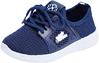 Hopscotch Baby Boys and Baby Girls PU and Cloth Lace Up Sneakers in Navy Color