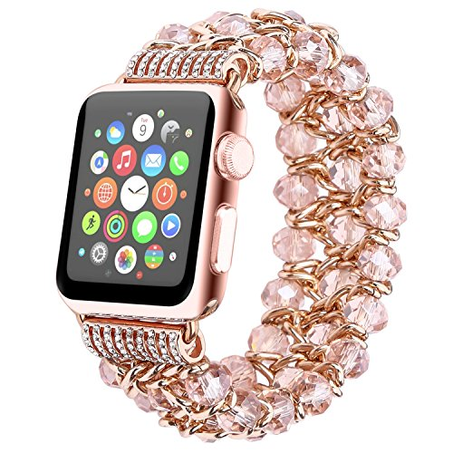 Fohuas Compatible for Apple Watch Bracelet 42mm 44mm Series 5 4 3 2 1, Crystal Beads Iwatch Band with Metal Chain Fashion Elastic Stretch Bling Wristband Strap for Women Girl, Pink