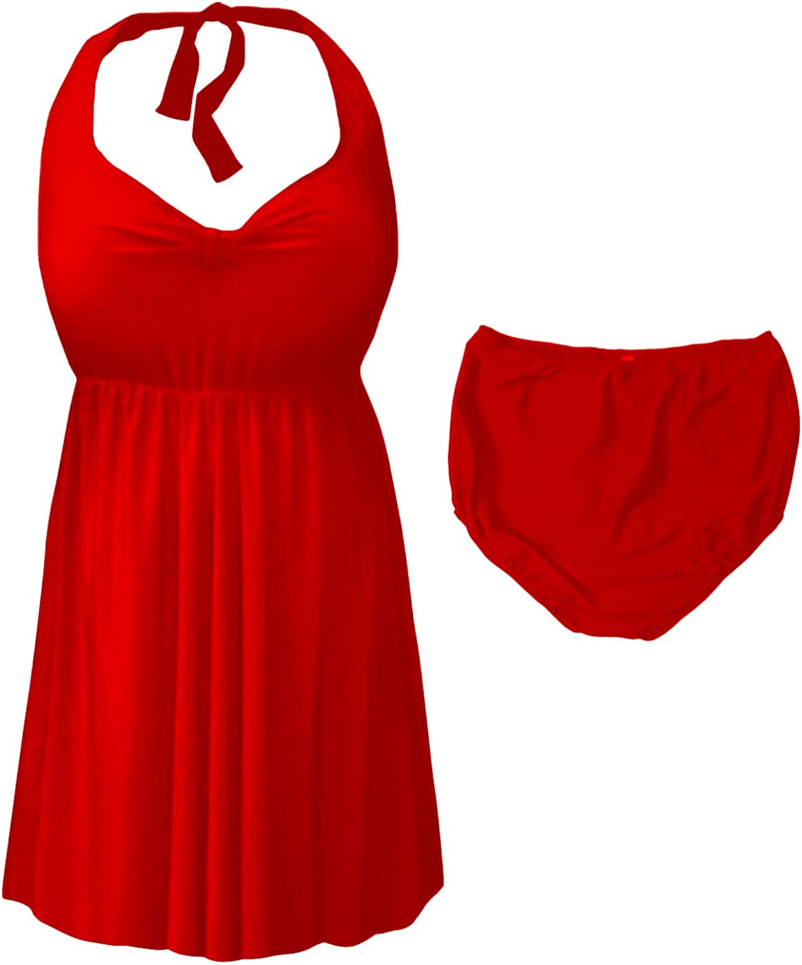 Sanctuarie Designs Red 2 Piece Halter Style Plus Size Swimdress