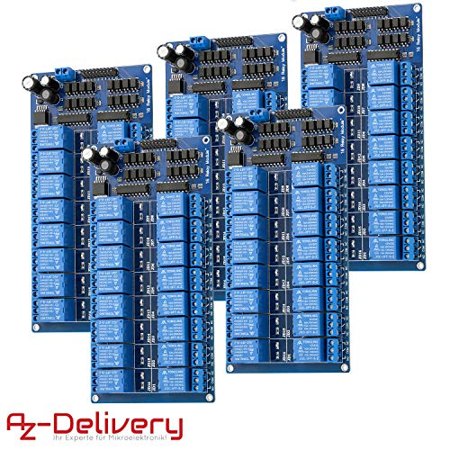AZDelivery 5 x Rele Modulo de 16 Canales 5V con optoacoplador Low-Level-Trigger compatible con Arduino con E-Book incluido!