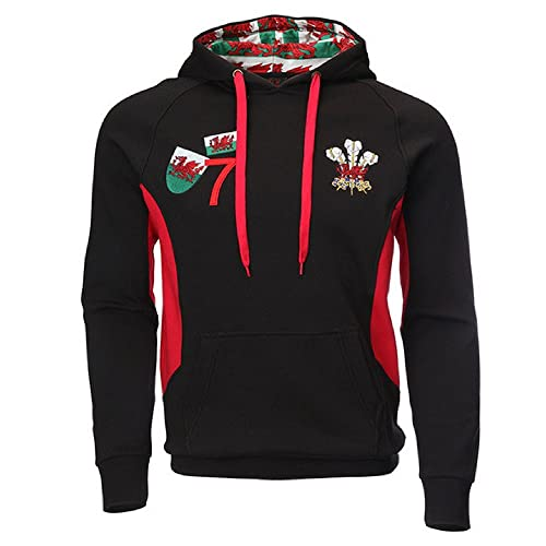 c3fe6370da3fd FASHION REVIEW New Men s Wales Welsh Cymru Feather Dragons Applique Rugby Hoody  Hooded Top