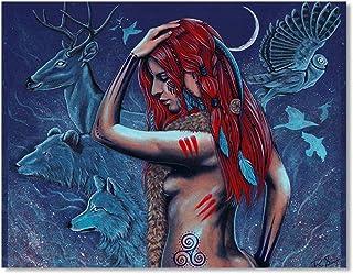 "Fantasy Art Print Animals Nature Shaman Woman""Spirit Guides"""