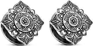 Filigree Flower Ear Plugs Tunnels Expander Gauges Stretcher Earrings Screw Stainless Steel Piercing Body Jewelry