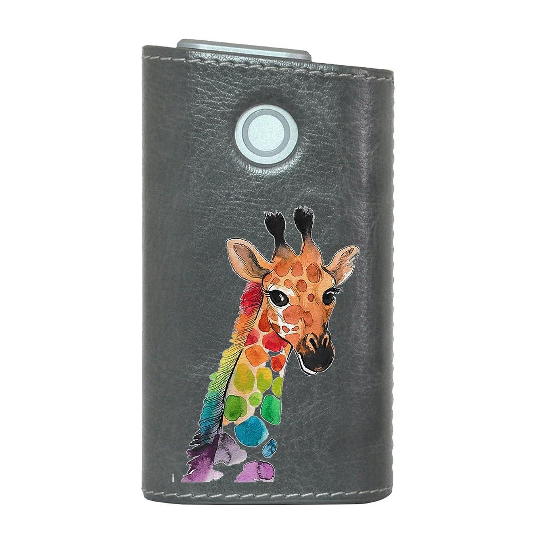 の面では役立つ熱心なglo グロー グロウ 専用 レザーケース レザーカバー タバコ ケース カバー 合皮 ハードケース カバー 収納 デザイン 革 皮 GRAY グレー きりん 動物 アニマル 014167